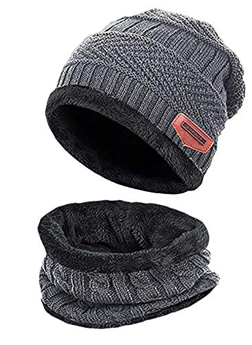 (Winter Beanie Warm Knit Hat Snow Ski Skull Cap Hat Scarf Set for Men and Women (Grey) )