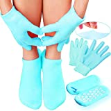 Gel Moisturizing Spa Gloves and Socks for Dry Feet - Fast Cracked Heel Repair And Simple Foot Skin Care with these Gel Foot Sleeves for Women and Men by EHOLIFE (1 Pack) (Blue)