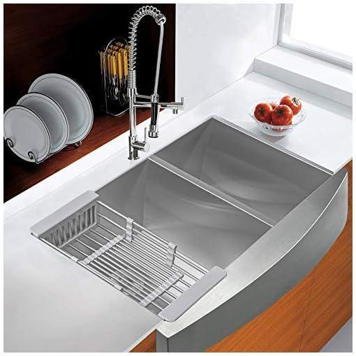 Farmhouse Kitchen AKDY 33″ x 22″ x 9″ Apron Farmhouse Handmade Stainless Steel Double Bowl 60/40 Kitchen Sink w/Drain Strainer Kit Adjustable Tray farmhouse kitchen sinks