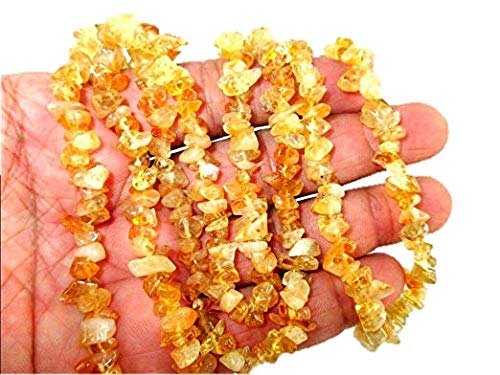 HiJet Citrine Chips Strands Mala Approx. 32-34 Inch Long for Making Jewelry Balancing Positive Energy Harmony Luck Yoga Meditation Reiki Unique Genuine Authentic Fashion Style Easter Sunday -