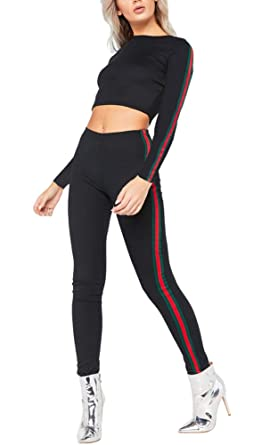 2f2abbb267cc2 Women's Round Neck Long Sleeve Solid Crop Tops + Slim Fit Striped Sports  Pants 2 Piece