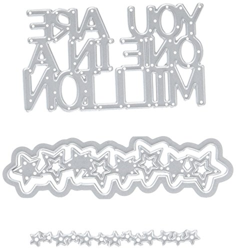 Sizzix 661574 Thinlits Die Set, One in A Million 3-D Drop-Ins Sentiment by Stephanie Barnard (5-Pack),