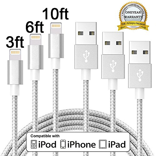 Airsspu Lightning Cable,3Pack 3FT 6FT 10FT Charger Extra Long Nylon Braided USB Cord certified iPhone Cable for iPhone 5/5S/5C/SE 6/6S 6 Plus/6S Plus 7/7 Plus(Silver+Gray,3FT 6FT 10FT)