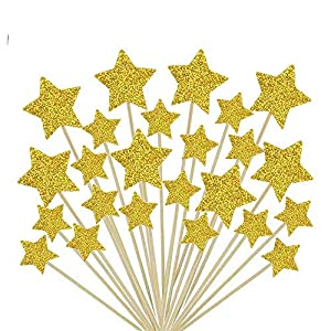 Glitter Star Cupcake Toppers Gold Large Party Cupcake Decorations Big Twinkle Twinkle Little Star Cake Topper for Birthday | Baby Shower | Wedding | Engagement Party Dessert Decor Topper, Set of 80