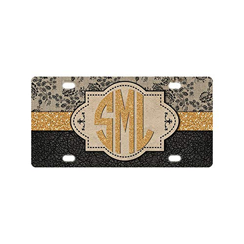 (BLINYS Funny License Plate Cover with 4 Holes Unique Design Car Tag - Faux Black Leather Faux Suede Monogram - Front License Plate Designed Decorative Metal Car License Plate Auto Tag 6 x 12 Inch)