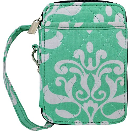 Shabby Damask Print Quilted Wristlet Wallet