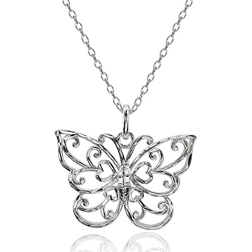 Sterling Silver High Polished Diamond-cut Filigree Butterfly Pendant Necklace