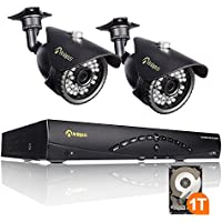 Anlapus Home Security System 8CH 960H Digital Recorder( 1T HDD Pre-install)+2 Pcs 900 TVL Weatherproof Bullet Security Cameras