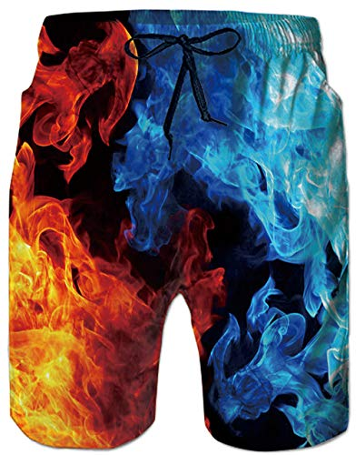Leapparel 1970s Old Men's Cool Ice and Fire Printing Boardshorts Mens Quick Dry Swimming Trunks Casual Hawaiian Shorts for Summer Holiday Daily Wear Plus Size Bathing SuitsWith Mesh Lining XXL ()