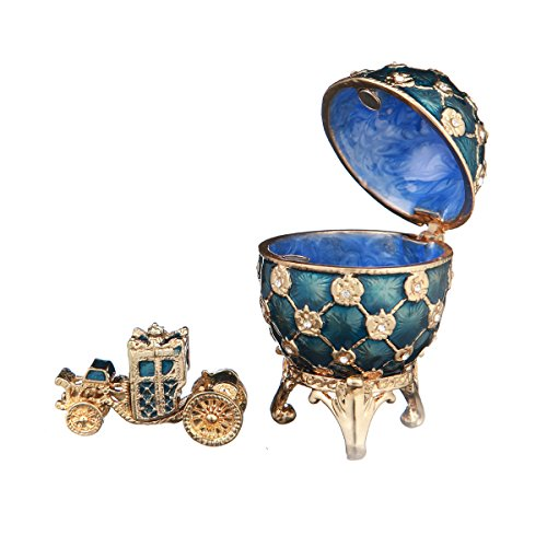 (danila-souvenirs Russian Faberge Style Egg/Trinket Jewel Box Russian Coat of Arms & Carriage blue)