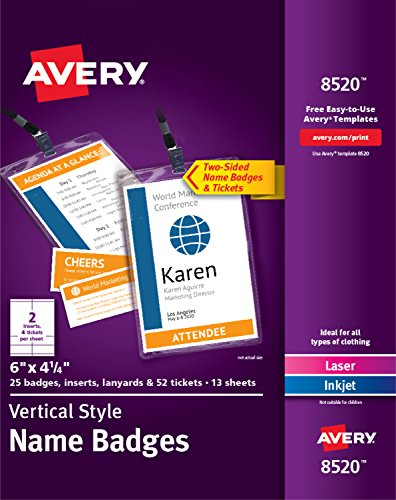 Avery Vertical Name Badges, Durable Plastic Holders, Lanyards, 6'' x 4-1/4'', 25 Badges (8520) by Avery