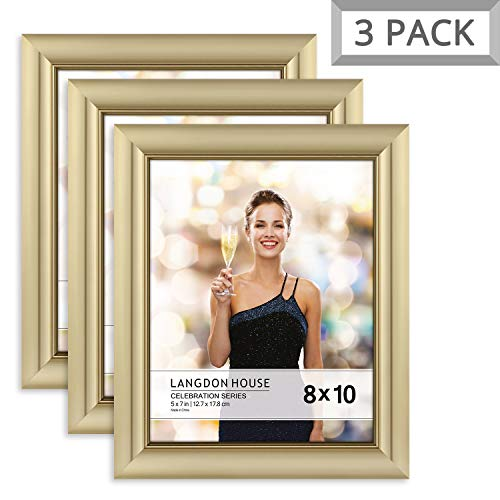 (Langdons 8x10 Picture Frame (3 Pack, Gold), Gold Photo Frame 8 x 10, Wall Mount or Table Top, Set Of 3 Celebration Collection)