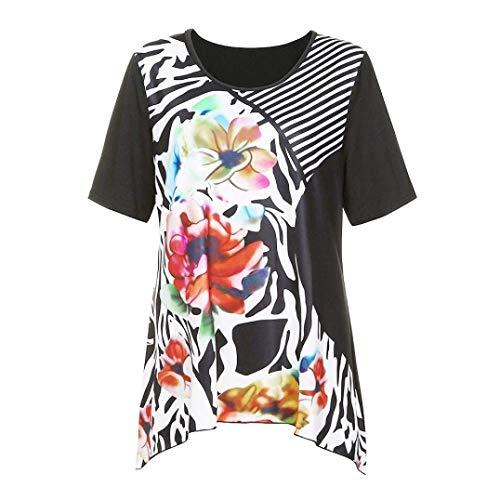 Chemisiers Shirt Rond Fleur lgant Femme Mode Tee Casual Et Bouffant Irrgulier Branch Rayures Vetement Col Courtes Rouge Basic Tshirt Manches Blouse Impression pdqxgHn