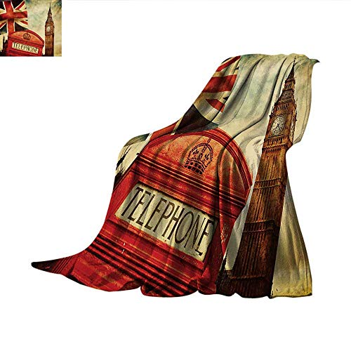 Londontravel blanketVintage Style Symbols of London with National Flag UK Great Britain Old Clock Towerthrow Blanket for Couch 90