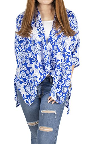 Lofbaz Women's Kimono Rayon Print Tunic Cover Up - Elephant 4 Royal Blue - OS