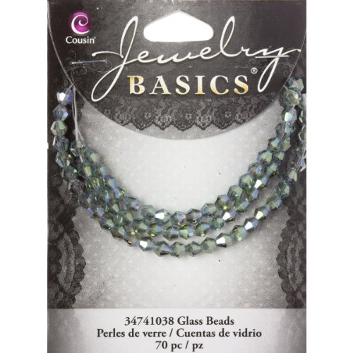 Cousin Jewelry Basics Mirror Glass Beads, 4mm, Bicone, Blue and Green, 70-Pack