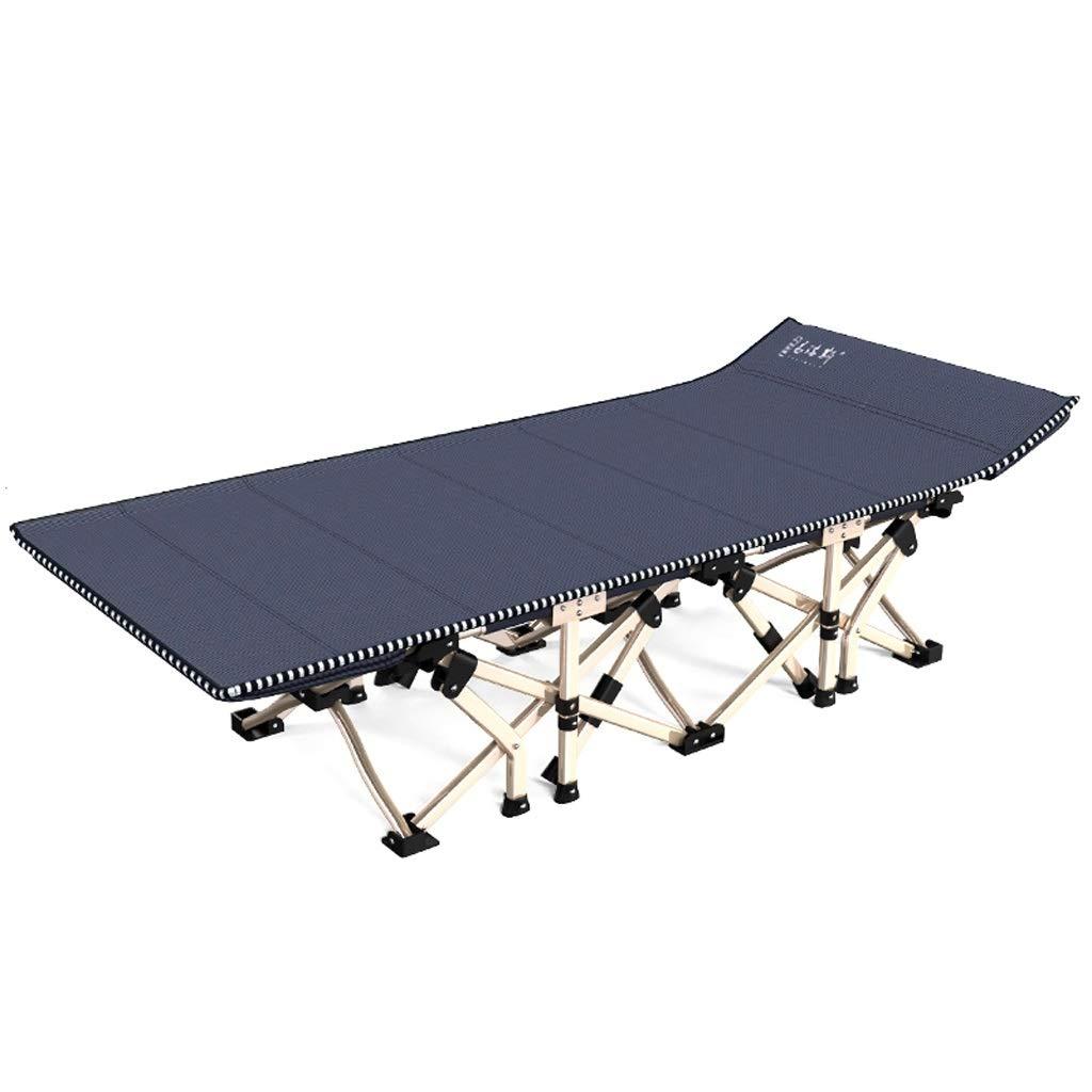 折りたたみベッド 折りたたみベッド シンプルな屋内と屋外の折りたたみラウンジチェア スチールバルコニーの折りたたみベッド 病院付きの折りたたみベッド ポータブルランチベッド (Color : Blue) B07SQ94R7R Blue