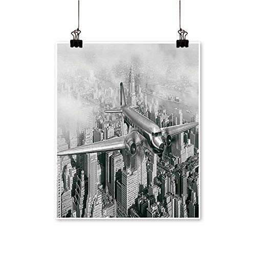 for Home Decoration Dated Plane Fly Over Skyscrapers New York City Urban Life Events for Home Decoration No Frame,24