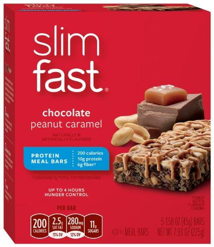 Slimfast 200 calories barres repas, Chocolat Caramel au beurre d'arachide, 5 pk