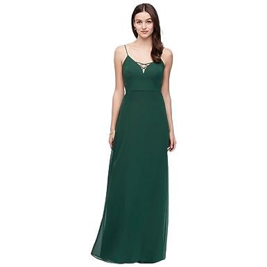 a80d4c4d75b David s Bridal Lattice Neckline Long Chiffon Bridesmaid Dress Style W60001  at Amazon Women s Clothing store