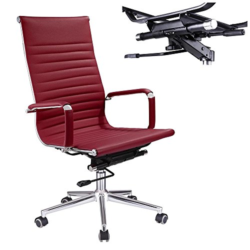 Yescom Executive High Back Ribbed PU Leather Swivel Office Computer Desk Chair Red XL by Yescom