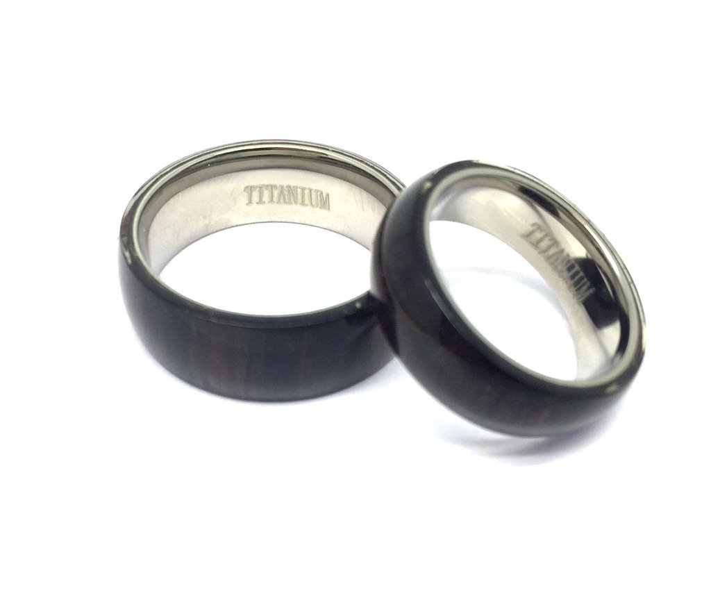 His & Her's 8MM/6MM Titanium With Pure Hawaiian Dark Koa Wood Domed Top Wedding Band Ring Set by GiftsWithThought (Image #2)