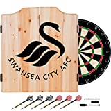 Premier League Swansea City Football (Soccer) Club Design Deluxe Solid Wood Cabinet Complete Dart Set