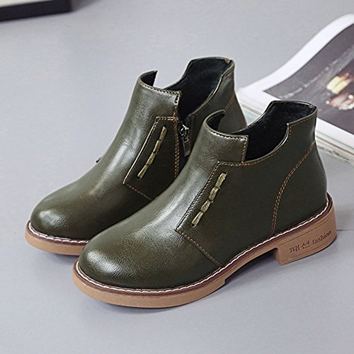 Year Women's Green Low Heel Retro BERTERI Boot Style Pull Army New Type On Snow Winter Martin Classic 5EFafq