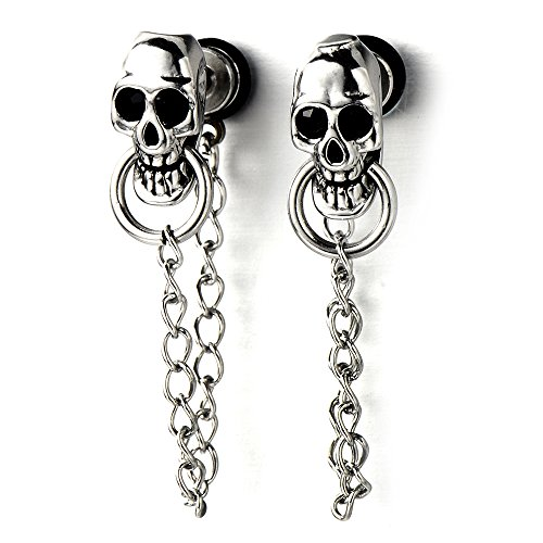 Mens Women Skull Chain Stud Earrings Drop Dangle, Stainless Steel, Screw Back, 2 Pcs