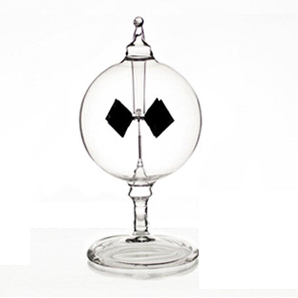 Vacuum Solar Radiometer Wind Solar windmill- Glass Decoration Home Car(transparent-short)