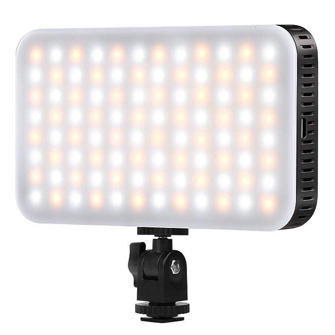 Luz LED en la Cámara con Cargador USB para Canon, Nikon, Pentax, Panasonic, Sony y Otras Cámaras Digitales SLR para Fotografía