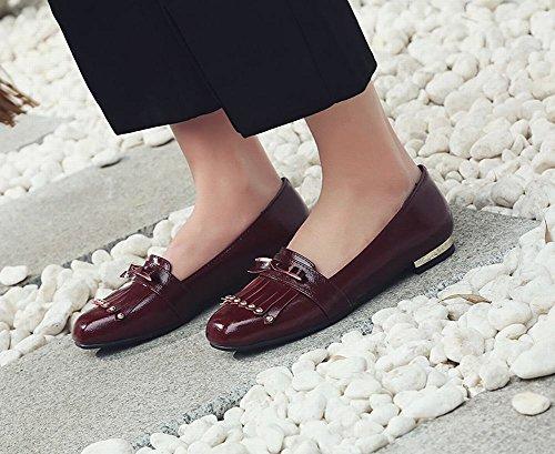 Latasa Kvinners Slip På Loafers Flats Mørk Rød