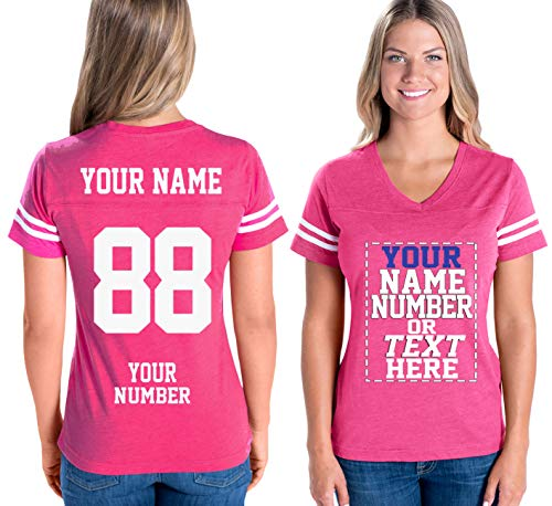 - Custom Cotton Jerseys for Women - Personalized Team Uniforms for Casual Outfit Hot Pink