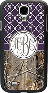 Country Girl Dark Purple Buck Head Camo Quatrefoil Monogram Case Cover For Samsung Galaxy S4