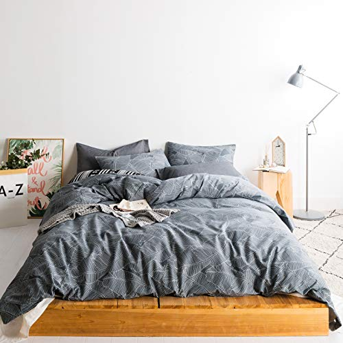 SUSYBAO 3 Pieces Duvet Cover Set 100% Natural Cotton Queen Size Grey Botanical Leaves Print Bedding Set 1 Duvet Cover 2 Pillowcases Hotel Quality Soft Breathable Comfortable Durable with Zipper Ties (Duvet Covers Grey Patterned)