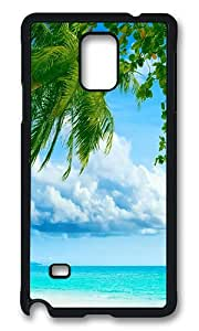 Samsung Galaxy Note 4 Case, Tropical Paradise Beach And Palm Tree Rugged Case Cover Protector for Samsung Galaxy Note 4 N9100 Polycarbonate Plastics Hard Case Black