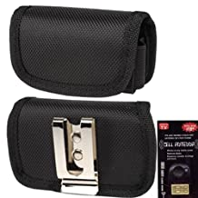 Canvas Horizontal Heavy Duty Case with Metal Clip and Velcro Closure Big Enough to Fit the Otterbox Defender or Commuter Case on your phone for Samsung Galaxy S3, SIII. Comes with Antenna booster.