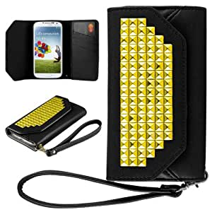 HHI Samsung Galaxy S4 Purse Wallet Case BLACK with Gold Pyramid Studs and Hand Strap