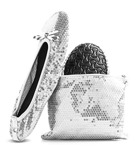 Women's Foldable Portable Travel Ballet Flat Roll Up Slipper Shoes (Large, Silver – Sequins)