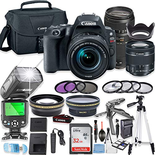 Canon EOS Rebel SL2 DSLR Camera Bundle with Canon EF-S 18-55mm STM Lens & Tamron 70-300mm Zoom Lens + 32GB Sandisk Memory + Canon Case + TTL Flash + Accessory Bundle