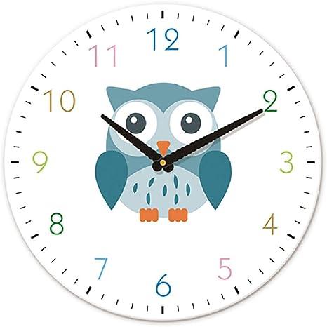 Amazon Com Wall Clock Watch 30cm Cute Animals Owl Cartoon Wall Clock Nordic Kids Room Silent Creative Painted Art Round Modern Clock Wall Decor Wall Watch Gift Ideas Clock Home Kitchen