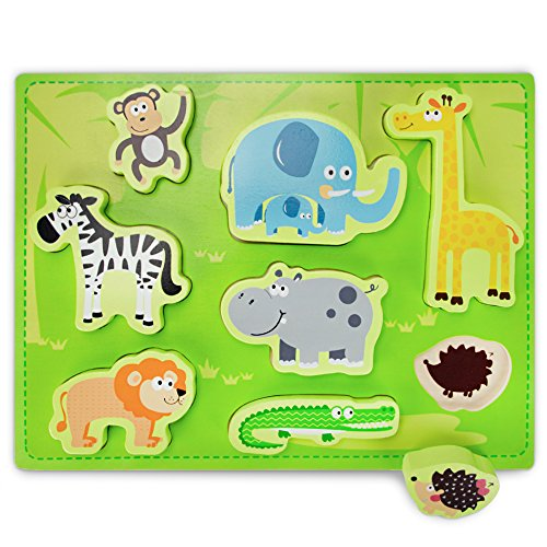 Professor Poplar's Chunky Exotic Safari Puzzle Board (8pcs.) by Imagination ()