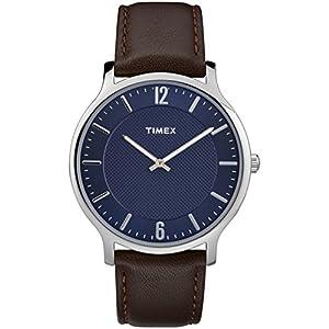 Timex Men's TW2R49900 Metropolitan Skyline Brown/Blue Leather Strap Watch