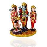 Kartik Ram Darbar (Rama,Sita,Laxman,Hanuman) Murti Idol Statue Resin Hindu God Sculpture 6 inches