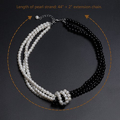 BABEYOND 1920s Imitation Pearls Necklace Gatsby Knot Pearl Necklace 20s Pearls 1920s Flapper Accessories Two-tone Stitching Style (Black and White) by BABEYOND (Image #2)