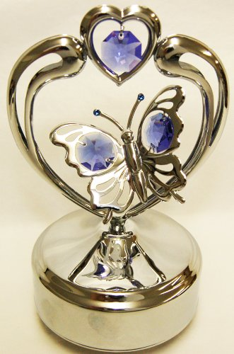 Chrome Butterfly in Heart Music Box - Purple Swarovski Crystal ()