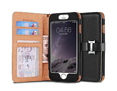 iPhone 6s Plus (5.5) Case, [Snow Fairy] iPhone 6 Plus Flip Case [Wristlet Series][Wallet] Cash Pocket - Wrist Strap PU Leather Case for iPhone 6 Plus - Special Design ID Slot Black