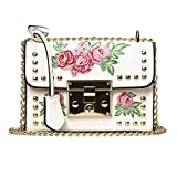 VIASA Women Fashion Messenger Bags Embroidery Rose Crossbody Shoulder Bags Chain Body Bags (White)