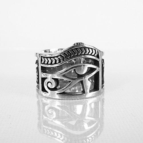 Eye Of Horus Ring, Eye of Ra ring, Eye of Ra Jewelry,Egyptian Jewelry Sterling Silver ring , 925 Sterling Silver Style Heavy Biker Harley Rocker Men's Jewelry (Eye Of Ra And Eye Of Horus)