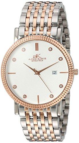 Adee Kaye Men's Quartz Stainless Steel Dress Watch, Color:Two Tone (Model: AK4801-MTTRG)